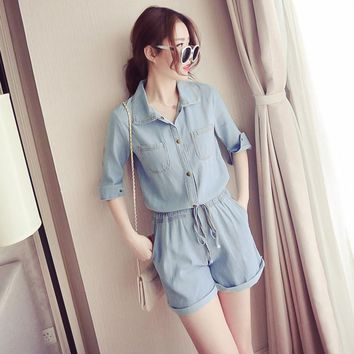 2017 Summer Vintage Denim Rompers Womens Jumpsuit Bodysuit Blue Short sleeve Elegant Jumpsuit Bodysuit Women One Piece plus size