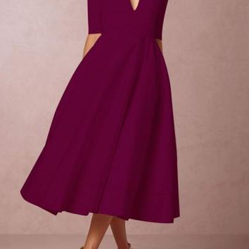 Burgundy Pleated Zipper Plunging Neckline Elbow Sleeve Vintage Party Maxi Dress