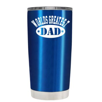 Worlds Greatest Dad on Translucent Blue 20 oz Tumbler Cup