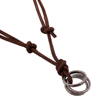 Stylish Shiny Gift New Arrival Jewelry Style Leather Men Alloy Vintage Chain Necklace [6526582659]