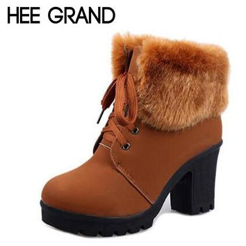 HEE GRAND Artificial Fur Ankle Boots Fashion Ladies Lace-Up Ankle Boot Warm Winter Boo