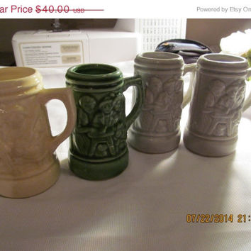 "SALE 4 Vintage German Ceramic Mugs! 4"" Pottery Mini Beer Stein Germany Froh Gemut Luslig Lied/Raised Design/1/8 Liter/Collector's Mugs"