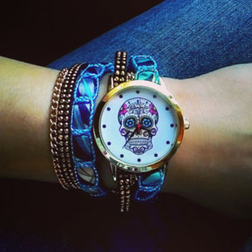 Sugar Skull watch with blue strap
