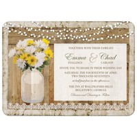 Rustic Mason Jar Wedding Invitations Filled With Daisies in Bloom