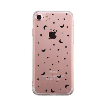 Moon And Stars Patten Phone Case Cute Clear Phonecase