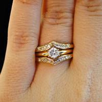 Vintage Diamond Engagement Wedding Ring Set - Solitaire Ring & Diamond Chevron Ring Guard - Bridal Set