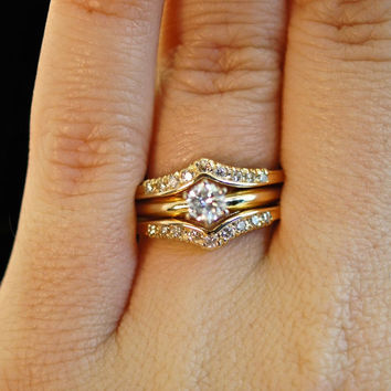 vintage diamond engagement wedding ring set solitaire ring diamond chevron ring guard bridal - Wedding Ring Guard