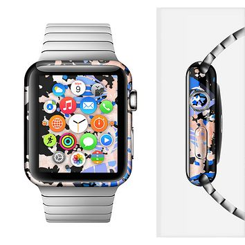 The Abstract White and Blue Fish Fossil Full-Body Skin Set for the Apple Watch