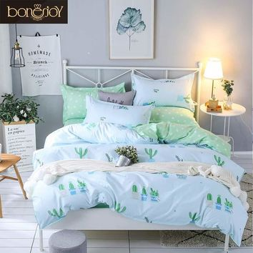 Bonenjoy Plant Green Cactus Bedding Sets Queen Size Quilt Cover Bed Sheet Pillowcase Bed Cover Set for Kids Single Bed Linen