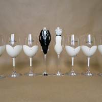 SALE Hand painted bridal shower party glasses Wine glasses and champagne flutes suit and dresses decorated with crystals