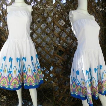 Vintage 1980s White Cotton Strapless Sundress / Blue, Pink, Green, Yellow Abstract Border / Full Skirt / Sleeveless Dress / S/M