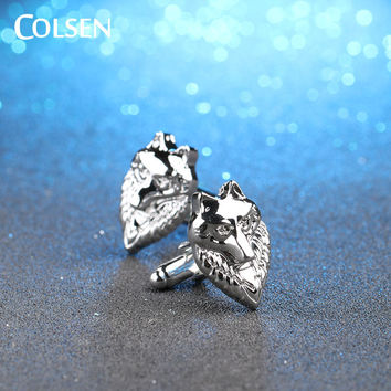 COLSEN boys men cool silver color wolf head shirt cufflinks spring summer autumn clothing accessories best friend gift jewelry