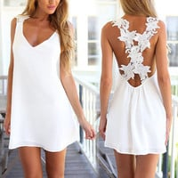 Lace Embroidery Crochet Floral Sundress