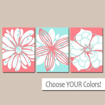 Coral Aqua Wall Art, Coral Aqua Nursery Decor, Flower Bedroom Wall Decor, CANVAS or Print, Flower Bathroom Decor, Flower Dahlias Set of 3