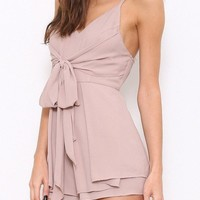 ELLIE BOW ACCENT ROMPER - TAUPE RESTOCKED!