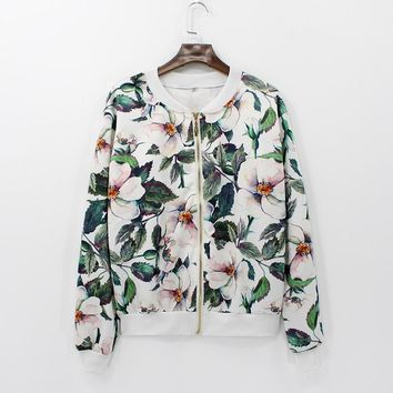 Women Fashion Coat Retro Floral Zipper Up Bomber Jacket Casual Coat Autumn Outwear Women Clothes