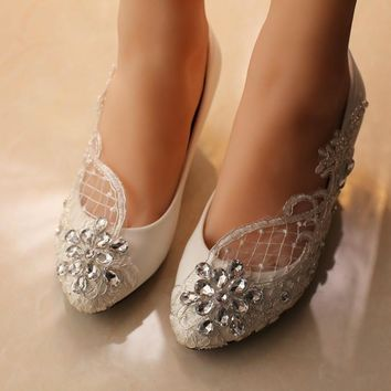 free shipping White Wedding Shoes office Shoes Bridesmaid/Bridal Shoes rhinestone lace