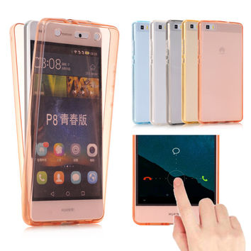 For Huawei Ascend P8 Lite / P9 Lite Case Cover Soft TPU Full body Protective Crystal Clear front back Phone Cases