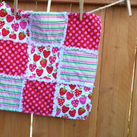 baby blanket girl, rag quilt, baby girl, lovey, baby quilt, strawberry blanket, pink and green