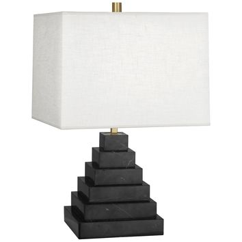 Canaan Table Lamp inStepped Black Marble w/ White Brussels Linen Squar – BURKE DECOR
