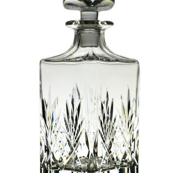 Cut Glass Square Whisky Decanter Vintage English