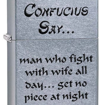 Zippo Confucius Saying #1 Street Chrome Lighter