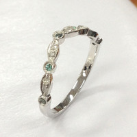 Alexandrite Diamond Wedding Band,14K White Gold Curved,Art Deco Antique Matching Ring,Milgrain Eternity Band,Fashion Fine Ring,Stackable
