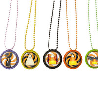 Halloween Party Favors    Necklace, Zipper Pulls or Key Ring Set of 5