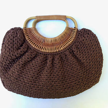 Sweetest 1960s brown hand crocheted bag with intricate woven cane carry handle