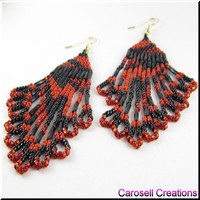 Beadwork Chandelier Dangle Seed Bead Earrings in Abstract Red and Black