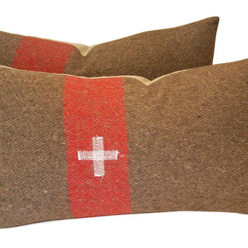 Swiss   Army  Wool Blanket Pillows, S/2