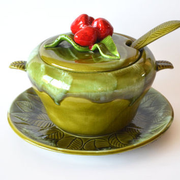 1960s Mid Century California Pottery Tureen Set Avocado Green Drip Glaze