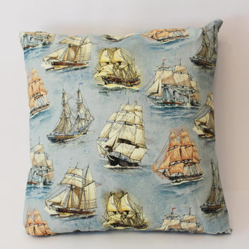 Ready to Ship - Vintage Nautical Ship Sail Pirate Boats Decorative Pillow Case Cover with or without Felt Back Size 14x14