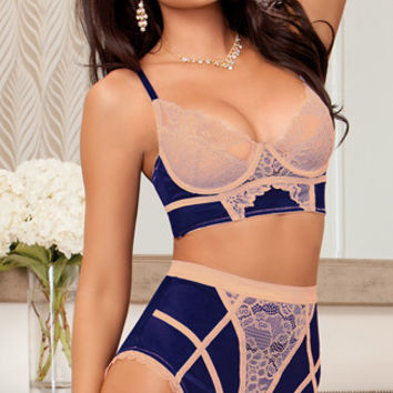 Navy Bra Set with Beige Lace Overlay