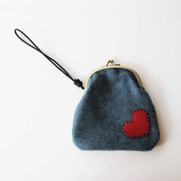 Blue Wrist Clutch with Red Heart by AllBeta on Etsy