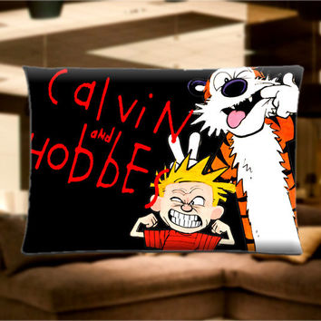 "New calvin and Hobbes Comic Pillow Case Cover Bedding 30"" x 20"" Great Gift"