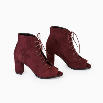 Lace-Up Faux Suede Peep-Toe Booties | Wet Seal