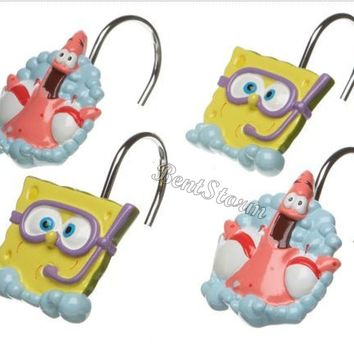 Licensed cool Spongebob Squarepants & Patrick 12 Bathroom Shower Curtain Hooks Nickelodeon NEW