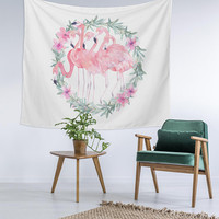 Ivy Pink Flamingo Love Custom Printed Unique Dorm Decor Apartment Decor Trendy Wall Art Printed Wall Hanging Wall Tapestry