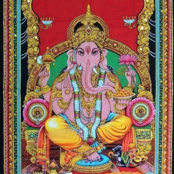 Lord Ganesh Yoga Boho Bohemian Tapestry Wall Hanging Bed Cover