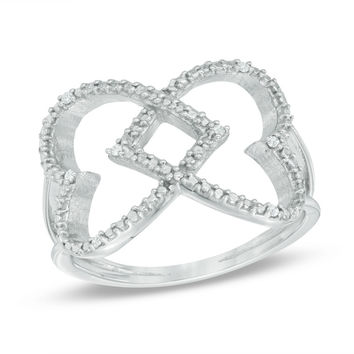 Diamond Accent Double Criss-Cross Heart Ring in Sterling Silver
