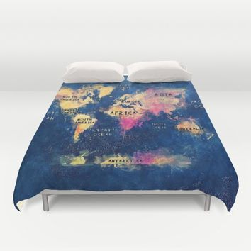 World map watercolor 4 Duvet Cover by Jbjart