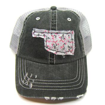 Black and Gray Distressed Trucker Hat - Gray Floral Applique - Oklahoma - All United States Available