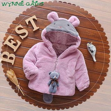 WYNNE GADIS Winter Baby Girls Faux Fur Fleece Hooded Thick Warm Jacket Kids Infant Outerwear Coat with Cute Bear casaco
