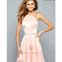Preorder - Faviana 7652 Soft Peach Short Satin Halter Dress 2015 Homecoming Dresses