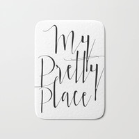 MODERN HOME DECOR - My Pretty Place, Modern Prints, Funny Gifts, Digital Bath Mat by NathanMooreDesigns