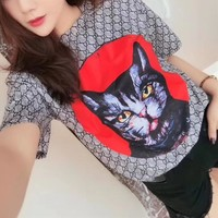 """Gucci"" Women Personality GG Letter Cat Head Pattern Print Short Sleeve T-shirt Top Tee"