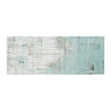 "Iris Lehnhardt ""Bluish Green"" Neutral Blue Bed Runner - Outlet Item"