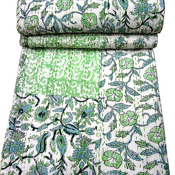 Queen Vintage Quilt, Indian Bedspread Blanket Throw Floral Quilt, Kantha Reversible Ralli Gudri Cotton Coverlet, Vintage Decorative Art