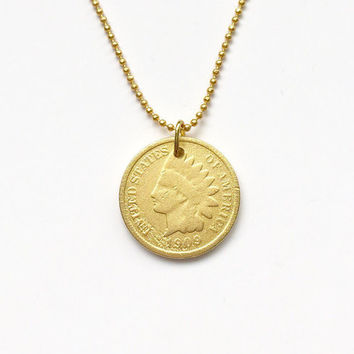 United States Gold Coin Necklace #LOVEMYROOTS | Matte Gold Pendant | USA Jewelry | USA Gold Coin Necklace | Gift